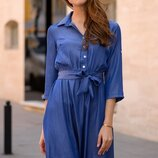 Женское повседневное платье цвета морской волны ткань легкий джинс скл.1 арт.54560
