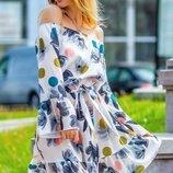 Платье Размеры 42-46 Цвет белый Ткань креп Описание ткани креп с
