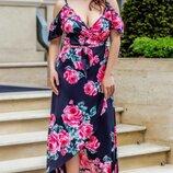 Женское летнее цветочное платье на запах ткань шелк армани батал скл.1 арт.54611