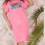Платье повседневное XL турецкий трикотаж нашивка фотопечать серый розовый