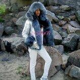 Куртка-Бомбер с мехом чернобурки