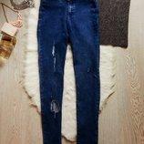 Синие джинсы скинни американки с высокой талией посадкой джеггинсы варенки с дырками