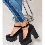 Туфли на каблуке из натуральной кожи замши б у