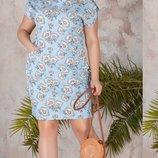 Платье XL нарядное приталенного силуэта, лён принт цветы голубой бежевый