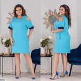 Платье нарядное XL с открытым плечом лёгкий креп фактурный ментоловый бежевый синий красный