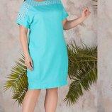 Платье XL повседневное лён прошва ментоловый бежевый синий