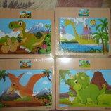 Деревянные пазлы на дощечке для развития деток.Динозавры