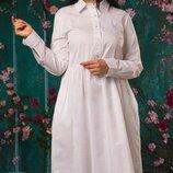 Платье рубашка XL коттон хаки голубой белый пудра