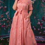 Платье рубашка длинное XL коттон хаки голубой пудра белый