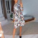 Платье рубашечного кроя, цветочный принт размер XS, S