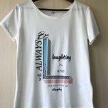 Белая хлопковая футболка с принтом Pimkie, M