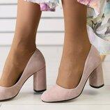 Замшевые туфли лодочки на каблуке пудра Вт2296348