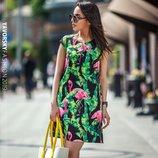 Красивое яркое летнее платье Фламинго