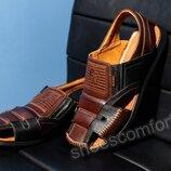 Сандалии мужские Bumer M - 900 натуральная кожа коричневые с черным