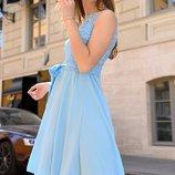 Платье нарядное вечернее Турция гипюр софт синий голубой