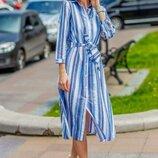 Платье Мод 1312 Размер 42-44,44-46,46-48,48-50 Цвет голубая полоска Ткань лен