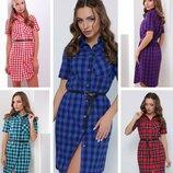 42-50, Летнее платье рубашка, Жіноча літня сукня, плаття. Женское летнее платье-рубашка в клетку