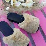 Шлепки из натурального кроля рекса Натуральный цельный мех кролика рекса/кож подкладка Ортопедическа