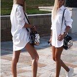 Женское белое платья рубашка