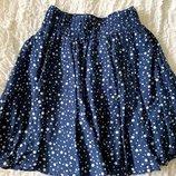 Легкая юбочка из хлопка и шелка в складку Zara S