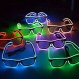 Неоновые очки с подсветкой led неон светящееся одноцветные разные цвета