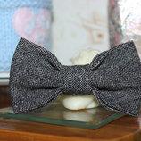 Бабочка для мальчика из серого твида, галстук-бабочка детская