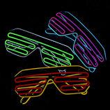 Неоновые очки с подсветкой led неон светящееся двухцветные разные цвета