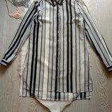 длинная рубашка туника платье черная белая в полоску шифон длинный рукав разрезы
