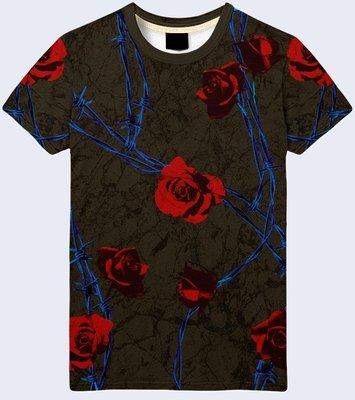 Мужская футболка 3D Розы и проволока Большой выбор