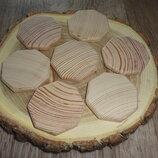 Заготовки деревянные восьмиугольник 4 см Руны Сосна