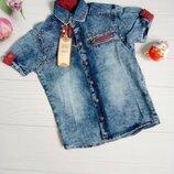 Детская стильная джинсовая рубашка на лето