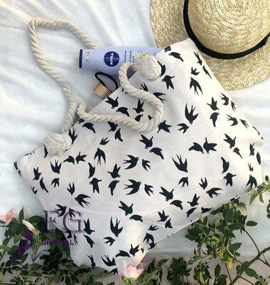 53c02961bc0e Женская большая пляжная сумка Birds ткань текстриль с принтом скл.10  арт.3064