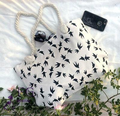 3ae88f3705ac Женская большая пляжная сумка Birds ткань текстриль с принтом скл.10  арт.3064. Previous Next
