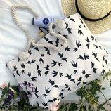 Женская большая пляжная сумка Birds ткань текстриль с принтом скл.10 арт.3064