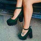 Туфли зеленые, замш. Модель 22 Туфли на толстом каблуке. Каблук 13 см, платформа 3,5 см. Натураль