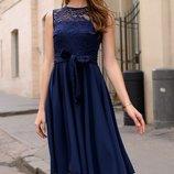 Женское летнее турецкое платье с гипюром ткань софт Турция скл.1 арт.54684