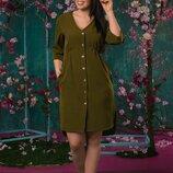 Женское платье-рубашка батал креп-косюмная ткань скл.1 арт. 54676