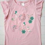 Розовая футболка для девочки 6-8 лет C&A Palomino Размер 128