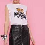 Женская летняя футболка Москино Медведь Киви б/р ткань креп-шифон вискоза скл.2
