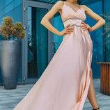 Длинное вечернее красивое платье шелк 1180