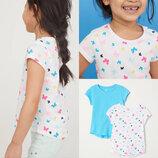 Трикотажные летние футболочки на девочек, комплект 2штуки H&M цена за комплект