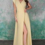 Женское длинное платье в пол с высоким разрезом ткань жатый лен скл.1 арт. 54702