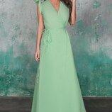 Женское длинное платье в пол с высоким разрезом ткань жатый лен скл.1 арт. 54701