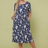 Платье XL летнее свободного кроя софт принт ирис синий
