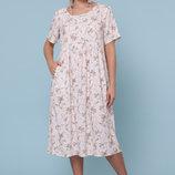 Платье XL летнее свободного кроя софт принт ирис персик