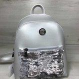 Молодежный рюкзак «бонни» с паетками серебряного цвета