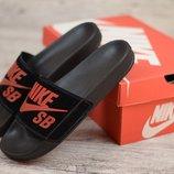 Мужские кожаные шлепанцы Nike ч/к