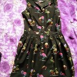 Платье с фламинго