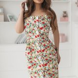 Платье сарафан коттон принт цветочный