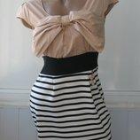 Платье летнее, бант и полоска, комбинированное